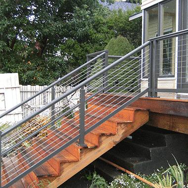RailFX Wood Stair Aluminum Cable Railing System