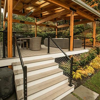 wood metal deck railing